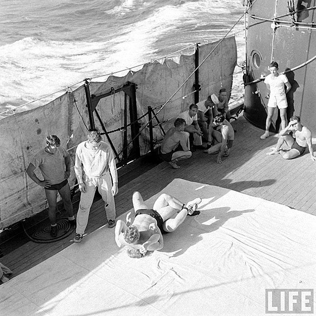 US Sailors Enjoying Some Wrestling On DeckX633 0