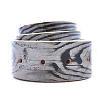 Grey Woodgrain Leather Belt 0