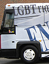 Equality Riders'             bus vandalized outside Tennessee's Lee University