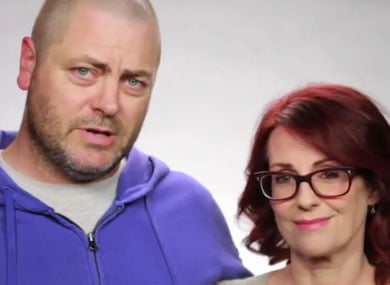 WATCH: Megan Mullally, Nick Offerman Question Quickie Vegas Weddings While LGBTs Can't Marry Legally