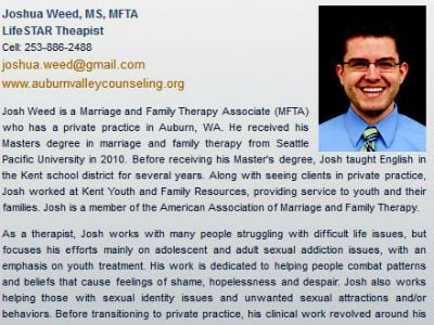 Gay Man in Straight Marriage an 'Ex-Gay' Therapist?