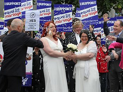Scottish Lesbian Couple Hold Mock Wedding Outside Parliament to Support Marriage Equality