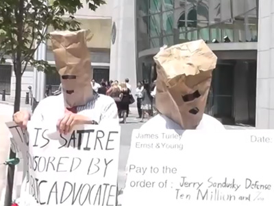 Supporters of Discrimination in Boy Scouts Protest With Paper Bags on Their Heads