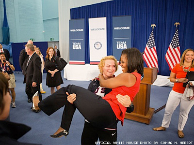 Michelle Obama Gets Picked Up By Wrestler