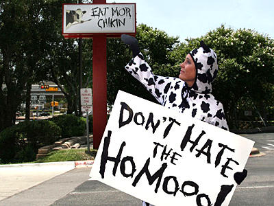 Lesbian Activist Dresses as Cow to Keep the 'Moooovement' Alive Against Chick-Fil-A