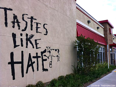 Mmm — Chicken 'Tastes Like Hate,' Says Graffiti