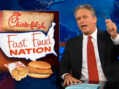 WATCH: Jon Stewart Lauds Chick-fil-A's 'Buttery Buns' and More