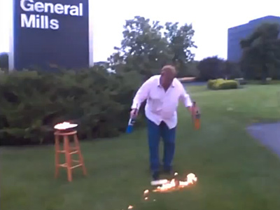Watch What Happens When a Man Tries to Protest General Mills With Fire