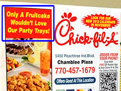 New Chick-fil-A Flier Mocks 'Fruitcakes'