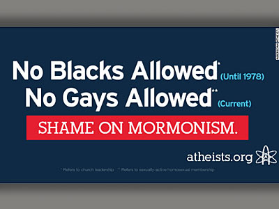 Billboard Denounces Mormon Policies on Blacks and Gays