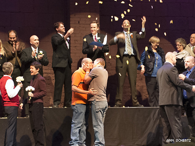 PHOTOS: Mayor of Bloomington, Ind., Marries LGBT Couples