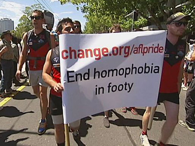 Australian Footballers March in Melbourne Pride Parade