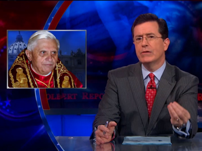 WATCH: 'The Pope Came Out of the Closet?' Asks Stephen Colbert