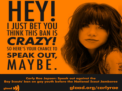 GLAAD to Carly Rae Jepsen: Denounce Scouts' Gay Ban, Maybe?