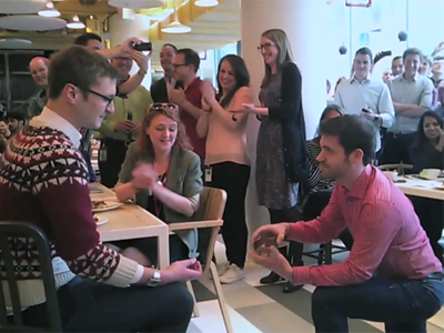 WATCH: Co-Workers Help Gay Google Employee Propose to Boyfriend