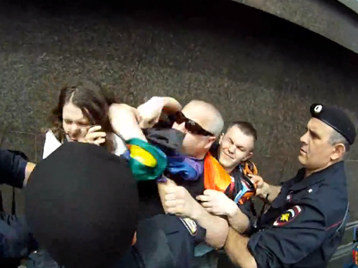 WATCH: Russian Police Arrest Dozens of LGBT Activists at Moscow Pride