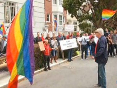 WATCH: LGBT Activists Protest Outside Russian Consulate in San Francisco