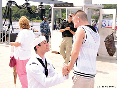 Sailor Surprises Boyfriend With Marriage Proposal