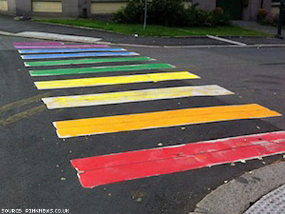 PHOTO: Rainbow Crosswalk Appears by Oslo's Russian Embassy