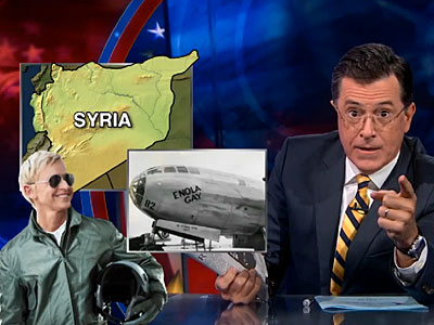 Stephen Colbert Orders a Lesbian Strike on Syria