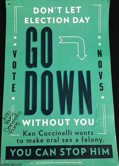 Va. Dems Launch Posters 'Going Down' on Ken Cuccinelli