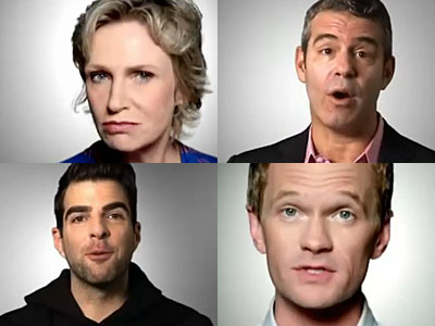 WATCH: Zach Quinto, Jane Lynch, Ellen, and NPH Warn 'Voting Makes You Gay'
