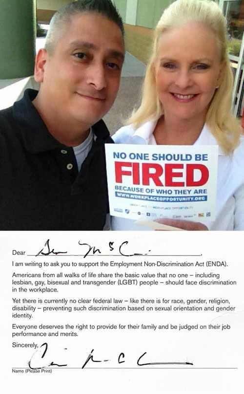 Cindy McCain Signs Petition Supporting ENDA