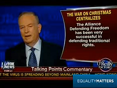WATCH: Bill O'Reilly Lauds Antigay Group's Work in 'War on Christmas'