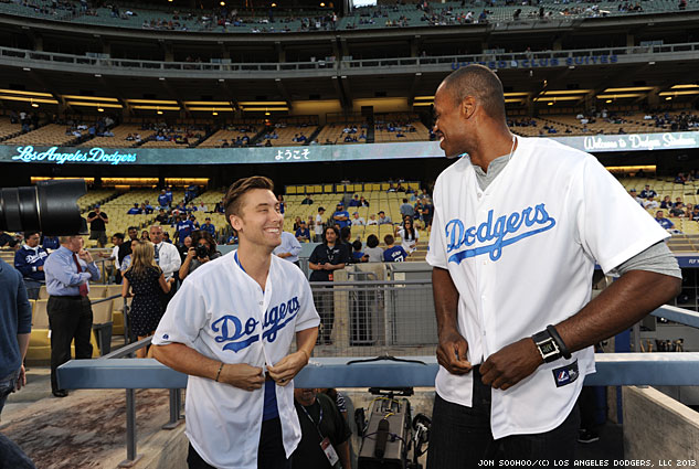 Lance Bass And Jason Collins Wardrop Change Into Dodger Gearx633 0
