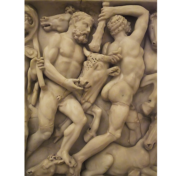 Roman Sarcophagus Depicting The Labors Of Hercules Defeat Of Cretan Bull And Horses Of Diomedesx633 0