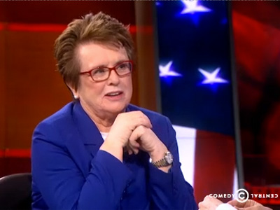 WATCH: Billie Jean King Comes Out Swinging on Colbert Report