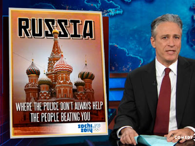 Jon Stewart Mocks Antigay Countries In 'The 2014 Homophobic Olympics'