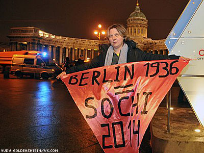 Russian Activists Cited for Protest Linking Sochi Olympics to 1936 Berlin Games
