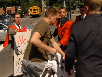 WATCH: Antigay Activists Claim Abuse by 'Gay-Stapo'