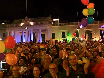 WATCH: Maltese Celebrate Civil Unions, Adoption Rights for Same-Sex Couples