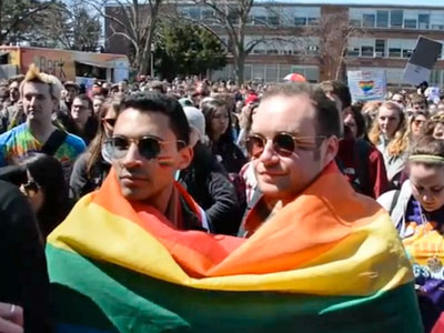 WATCH: UMass Rally Shouts Down Westboro's Attempted Picket of Derrick Gordon
