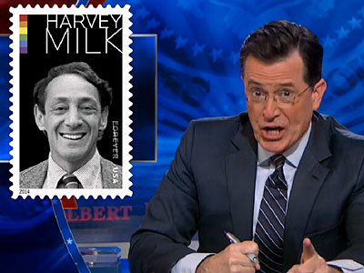 WATCH: Stephen Colbert Outraged by Harvey Milk Stamp