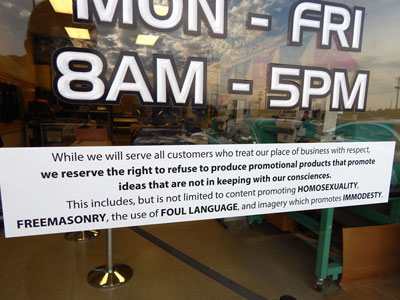 Ky. Print Shop Clarifies Antigay Policy by Replacing Sticker With Sign