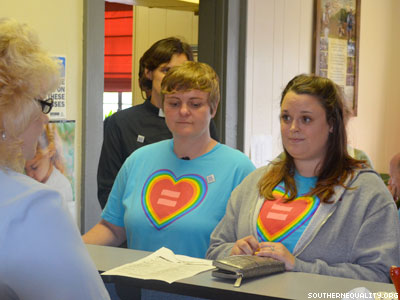 WATCH: Protesters Rally as N.C. Women Seek Marriage License