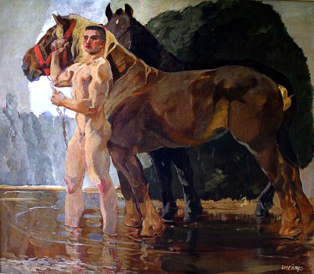 Ludwig Vacatko Male Nude With Two Horses At Streamx633 0