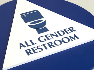 WATCH Gender Neutral Bathroom Signs Focus On Whats Inside The Toilet - Gender neutral bathroom signs