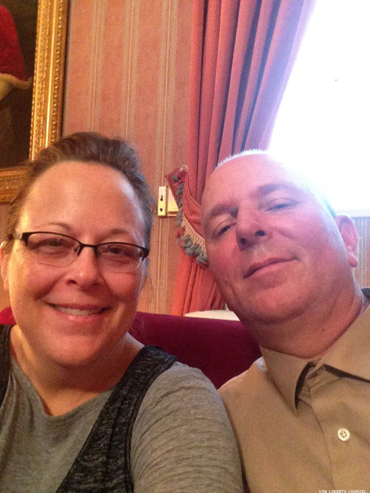 Kim Davis and her fourth husband Joe take a selfie allegedly inside the Vatican embassy