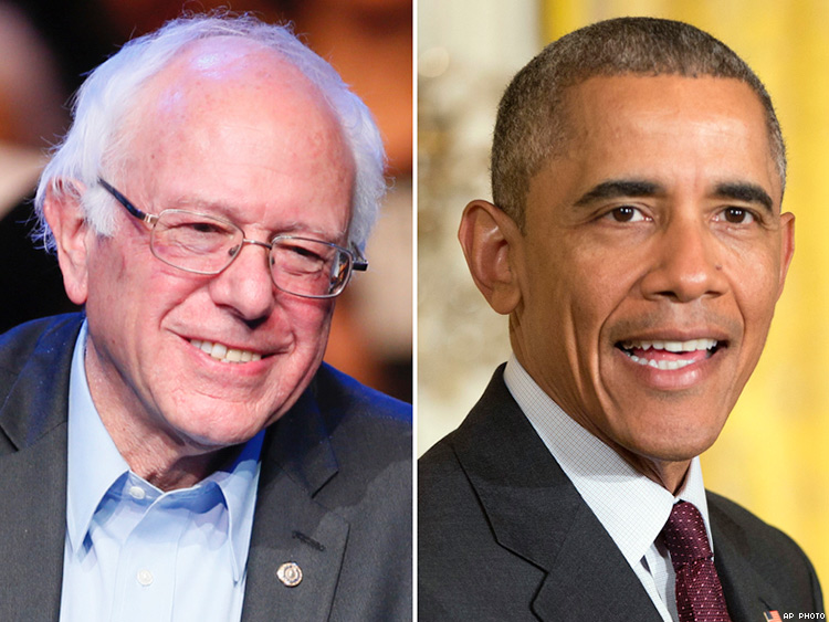 Sen. Bernie Sanders and President Barack Obama