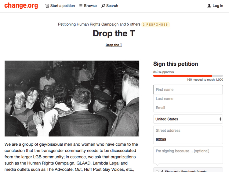 'Drop the T' petition on Change.org