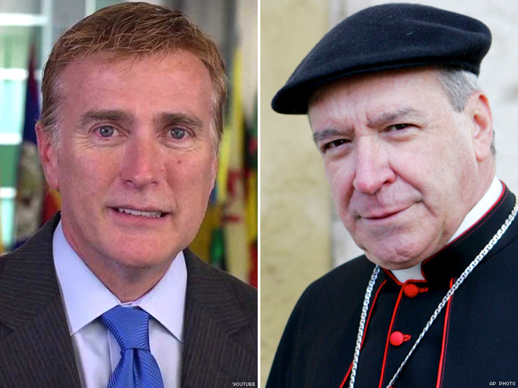 Cardinal Nicolas de Jesus Lopez Rodriguez (left) and U.S. Ambassador James Wally Brewster