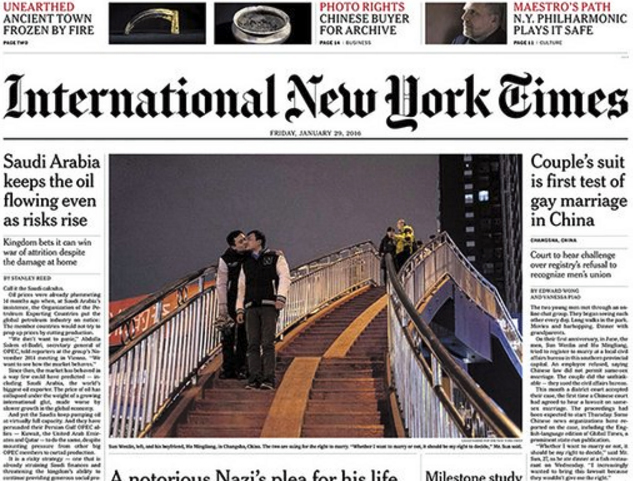 The cover of the International New York Times