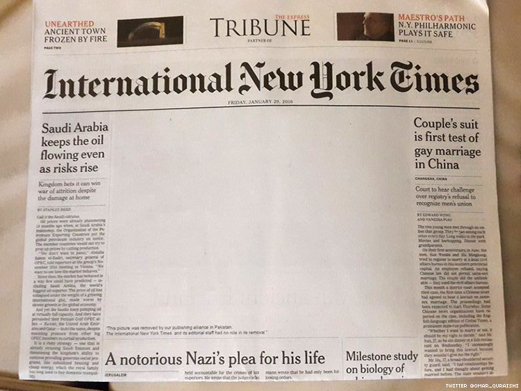 The censored cover of the International New York times in Pakistan