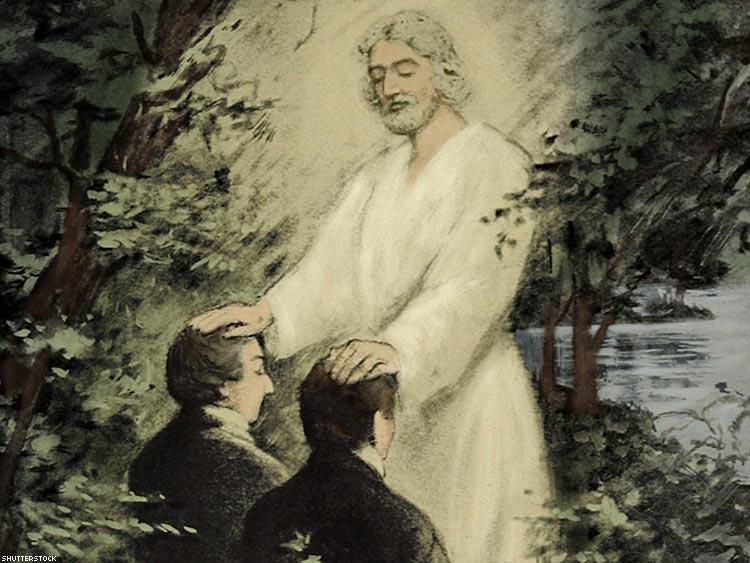 John the Baptist Conferring the Aaronic Priesthood on Joseph Smith and Oliver Cowdery