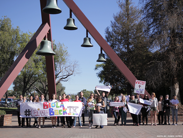 LGBT students, alumni, and allies demonstrate at Biola University