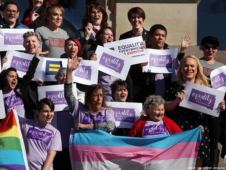 Trans South Dakota residents and allies rally at the state capitol in Pierre